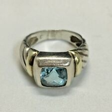 David Yurman Noblesse Sterling Silver Ring with 14k yellow gold and Blue Topaz