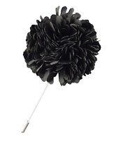 Mens Black Carnation Lapel Flower Blazer Pin Wedding Prom Corsage