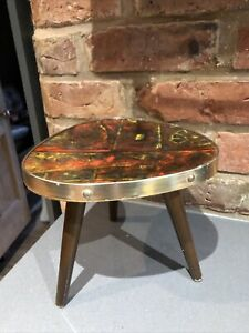Vintage Mid Century Small Teak Side Table Plant Stand Abstract Atomic