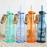 Portable Sport Travel Plastic Fruit Juice Water Bottle Cup with Straw BIUS