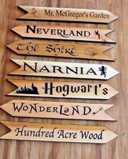Fictional Fantasy Land Arrows, Literary Directional Signs, Kids Library Nursery