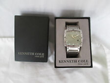 New Kenneth Cole NY Mens Square Quartz Watch Brushed Silver Snap Link With Box