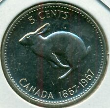 1967 CANADA FIVE CENTS, CHOICE BRILLIANT UNCIRCULATED, GREAT PRICE!