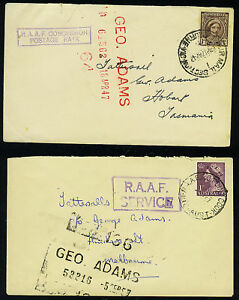 "AUSTRALIA 1947 ""RAAF  CONCESSION POSTAGE RATE"" MARKING"