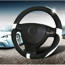 2018 Car Steering Wheel Cover Environmental PU Leather Black+White Universal 38
