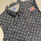 Old Skool Denim Vest Size 5X Mens Trucker Biker Jean Jacket Patriotic Stars Flag