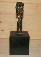 Expressionist nude man hand made bronze figurine with marble base signed