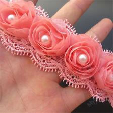 10pcs Vintage Flower Pearl Lace Trim Wedding Bridal Dress Ribbon Applique Sewing