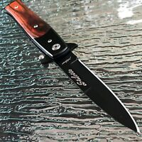 "8.5"" SPRING ASSISTED OPENING RESCUE KNIVES WOOD FOLDING STILETTO KNIFE TAC FORCE"