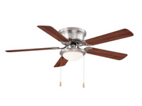 Hampton Bay Southwind Ceiling Fan 52 in LED Indoor Brushed Nickel w/ Light Kit