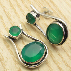 Earrings !! Real GREEN ONYX 2 Gemstone ! Silver Plated Beautiful Jewelry PRETTY