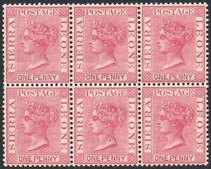 SIERRA LEONE-1884-91 1d Carmine Block of 6 Sg 28 light horizontal bend UM V42953