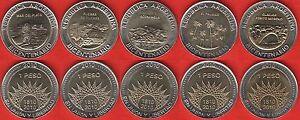 Argentina set of 5 coins: 1 peso 2010 BiMetallic UNC