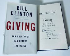 "PRESIDENT BILL CLINTON HAND SIGNED AUTOGRAPH ""GIVING BOOK COA 1ST AUTO HILLARY"