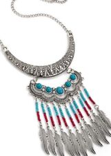 Necklace-Feather-Seed beads Silver Chain-Tribal-pendant native american Festival