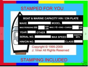 *STAMPED* Boat ID Identification Tag VIN Plate 4 Zodiac Bombard Boat Rib Marine