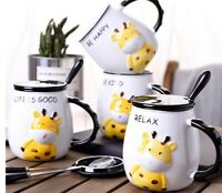 Cartoon Giraffe Emboss graphics Ceramic Coffee Mug Spoon Set Water Milk Tea Cup