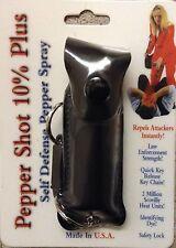 BLACK 1/2 oz 10% OC Pepper Shot Pepper Spray POLICE Self Defense HOLSTER NEW