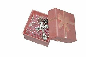 Beautiful Girls Baby Pink Heart Rosary Beads In Gift Box  1st Communion Baptism