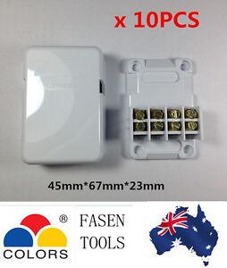 10 x Mini Junction Box 4 Terminals/ Connectors Miniature Cable Join Plastic Case