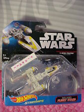 STAR WARS Starships Y-WING FIGHTER GOLD LEADER✰2016 HOT WHEELS✰Flight Stand