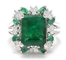 7.30Ct Naturale Smeraldo e Diamante 14K Solido Bianco Anello Oro
