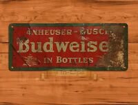 "TIN SIGN ""Budweiser Rust"" Bud BEER Rustic Garage Wall Decor"