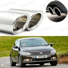 2Pcs Car Exhaust Muffler Tip Tail Pipe Trim Silver for VW Passat 2006-2014 #1030