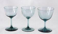 3x antique 18th C. Wine Glass, circa 1750 Holland, grey-ish blue crystal