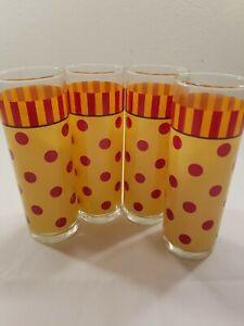 4 Vintage Gail Pittman SIENA Polka Dot Tom Collins Glasses