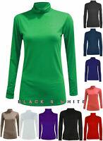 Women Polo Neck Long Sleeve Roll Neck T Shirt Ladies Turtle Neck Top UK 8-26