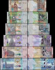 Kuwait 1/4, 1/2, 1, 5, 10, 20 Dinar Full Set, 2014, P-29T34, UNC