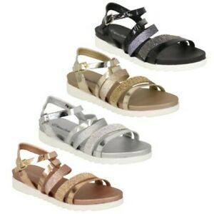 Ladies Gladiator Sandals Womens Flat Open Toe Buckle Shoes Diamante Glitter New