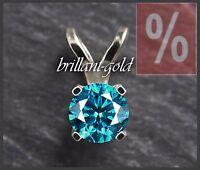 Diamant Damen Anhänger aus 585 Gold mit einem 0,63 ct Brillant in blau, Neu