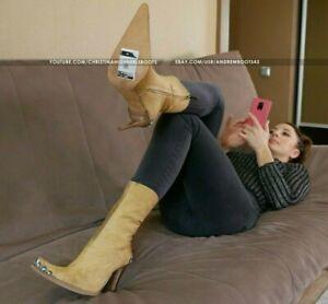 GIANMARCO LORENZI EU36 US6,5 pointed toe stilettos pony fur western boots VIDEO