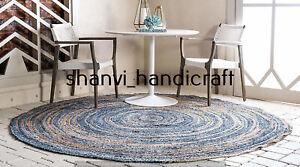 Bohemian Braided Round 150 CM Jute Denim Hand Woven Floor Carpet Area Rug Carpet