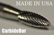 "BRAND NEW 1/4"" Flame Shape Carbide Bur Tool Bit Die Grinder USA SH-1 DOUBLE CUT"