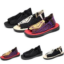 Men's Slingback Open Toe Slip on Flats Hollow out Beach Braided Sandals Shoes