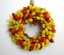 "Tulip Wreath 16"" X 5"" Spring Summer Yellow Orange Door Decoration"
