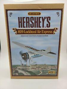 Hershey's 1929 Lockheed Air Express Airplane Die Cast Metal Coin Bank NIB