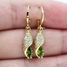 18K Yellow Gold Filled Marquise Olive Green Topaz Zircon Earrings Women Jewelry