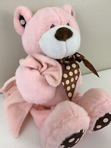 BABY GANZ Teddy Bear Plush Pink Brown Dots Stuffed Animal Soft Lovey Rattle