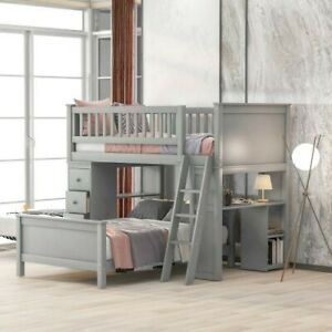 Twin Over Twin Bunk Bed with Drawers&Desk&Ladder Wood Platform Bed Loft Bed Gray