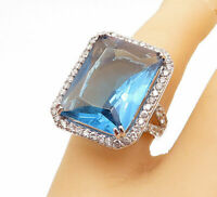 925 Sterling Silver - Large Square Cut Blue Topaz Cocktail Ring Sz 6 - R14370