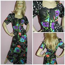 70s MULTICOLOURED FLOWER POWER KITSCH FLORAL PRINT MAXI DRESS 14 M L 1970s