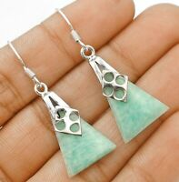 Natural  Amazonite 925 Solid Sterling Silver Earrings Jewelry EA29-9