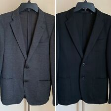 Uniqlo Men XS 38R (Lot Of Two) Knit Unlined Lightweight Blazers, Black and Gray