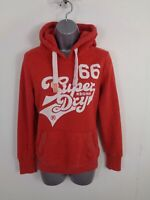 WOMENS SUPERDRY RED MARL SPELLOUT LONG SLEEVED HOODED JUMPER HOODIE UK XS XSMALL