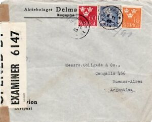 SWEDEN: Censored airmail cover to Argentina 1942, Arrr.canc.