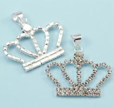 5x Rhinestone Crystal Silver Plated Crown Pendants Charms Diamante Beads 30mm